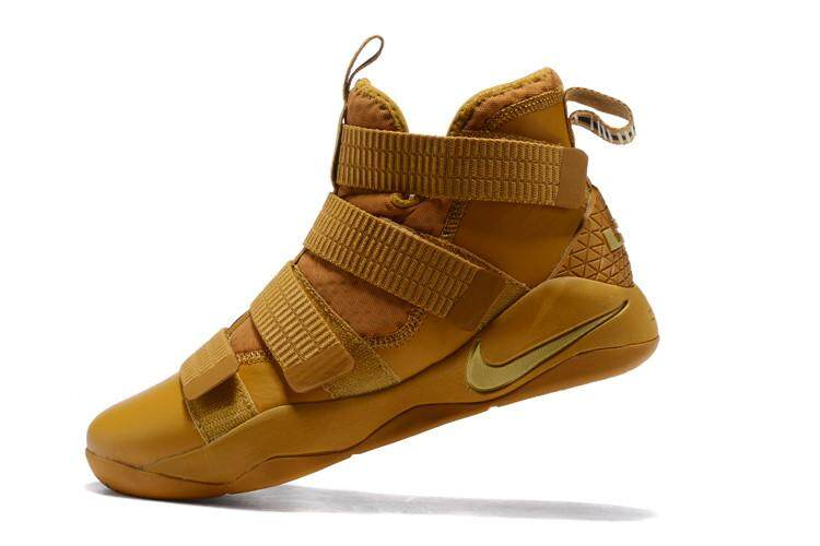 Brown Gold LeBron Soldier XI SFG Mid Top LeBron James 11 LeBron James Cavaliers #23 Non-Slip The NBA Championship LBJ Men's NBA Basketball Shoe Fashion King James Offical Sport shoes EU:40-45 - intl