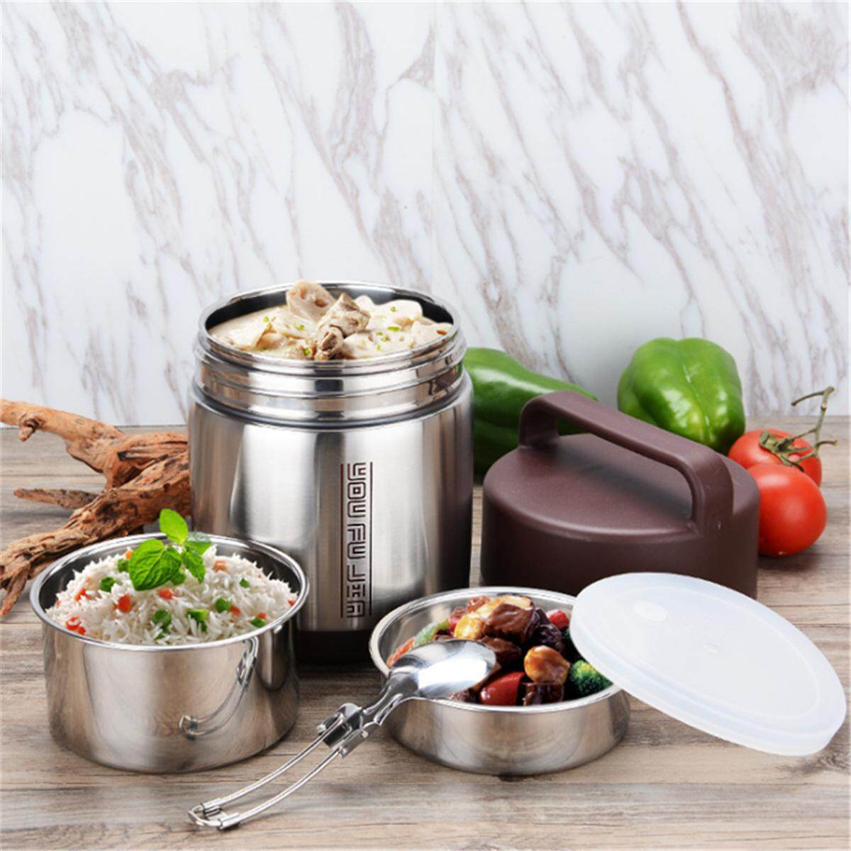 (photo)vacuum Insulated Lunch Box Stainless Steel Jar Hot Cold Thermos Food Container [1.6l] By Moonbeam.