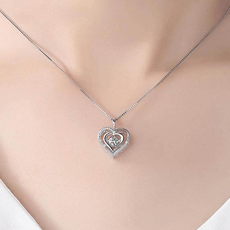 Mode Bergerak Jantung Berongga Liontin Emas Putih Disepuh Kalung Flash Berlian Imitasi Jantung Liontin Wanita Kalung Wanita Perhiasan Hadiah