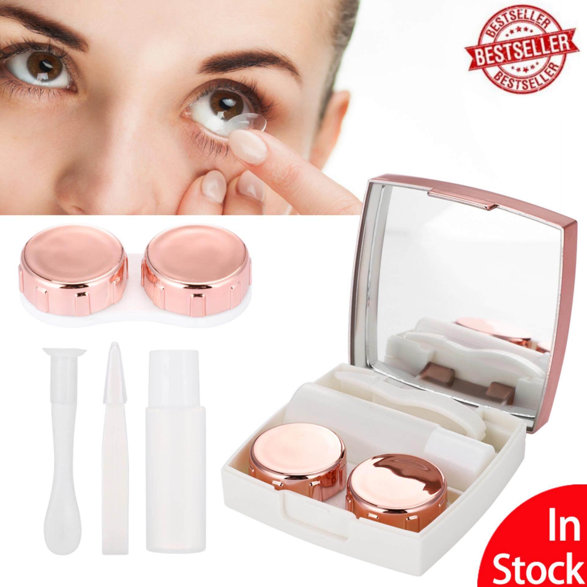 [Ready Stock]Mini Contact Lens Holder Eye Care Lenses Container Case Portable Mirror Box - intl