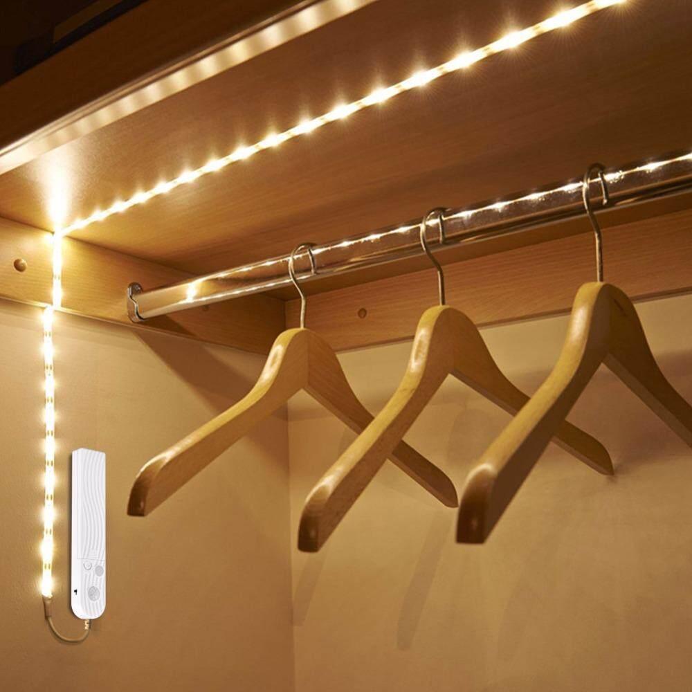 DC 5V 2M PIR Motion Sensor LED Cabinet light Strip tape Under Bed lamp For Closet Wardrobe Stairs Hallway Battery Power White