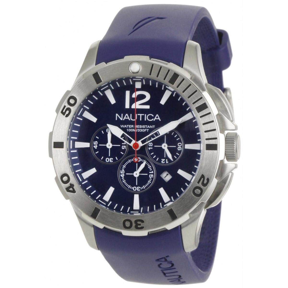 Nautica BFD 101 Chronograph Blue Stainless-Steel Case Resin Strap Mens  N16565G 08f4230043