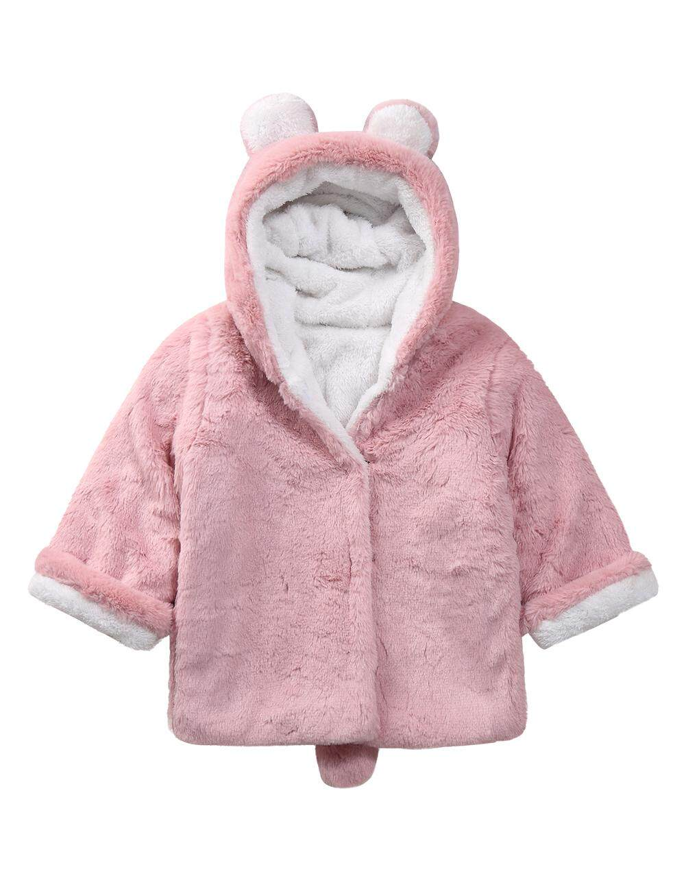 44653a6684f9a YZ Children Baby Girls Winter Jackets Warm Plush Fleece Coat Rabbit Ear  Hooded Outerwear Kids Jacket