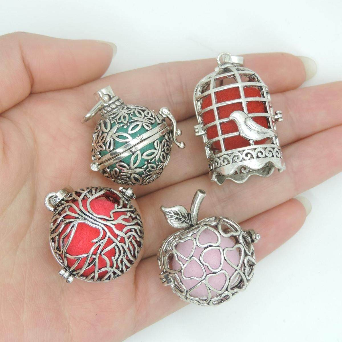 4pcs Cage Perfume Essential Oil Aromatherapy Locket Necklace & 12 Diffusion Ball By Glimmer