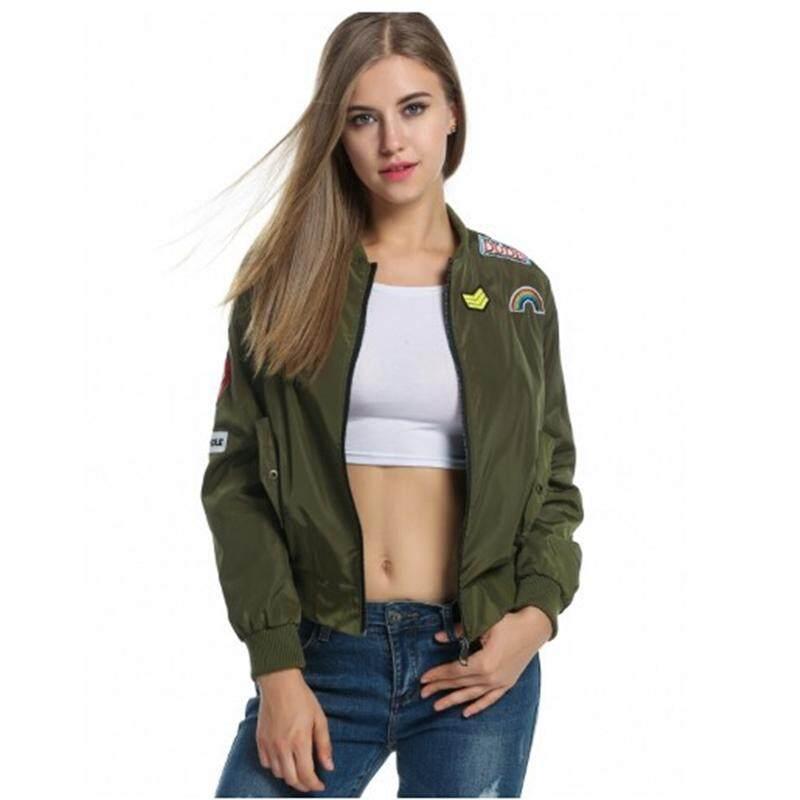 Wanita Appliques Zip Up Pendek Slim Jaket Bomber-Intl