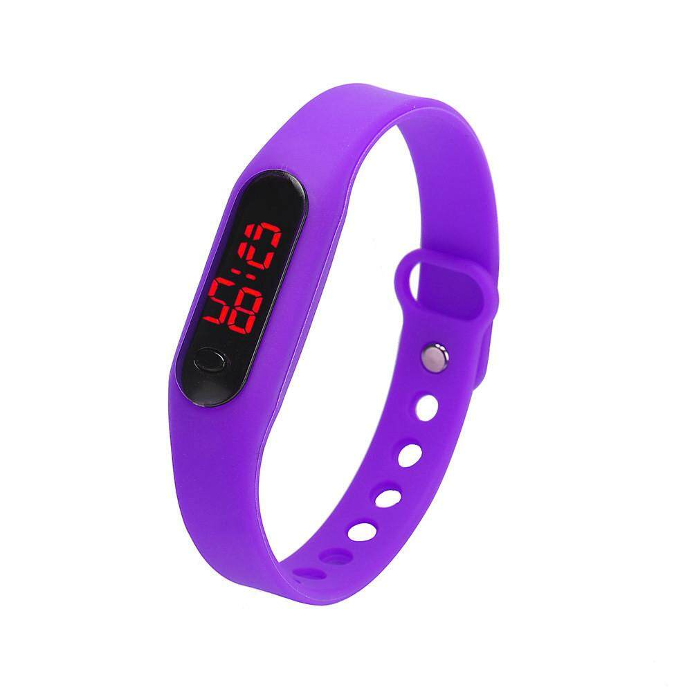 High End Womens Rubber LED Date Sports Bracelet Digital Wrist Watch White bán chạy