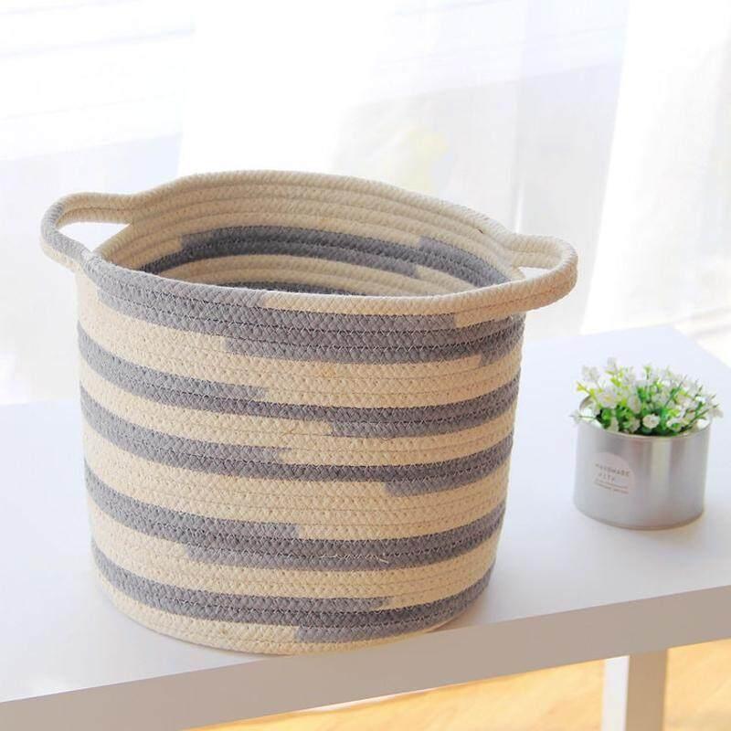 Nordic Style Cotton Thread Storage Basket Clothing Sundries Holder Kids Toys Barrel Bag Organizer Decoration 30x27cm Foldable - intl