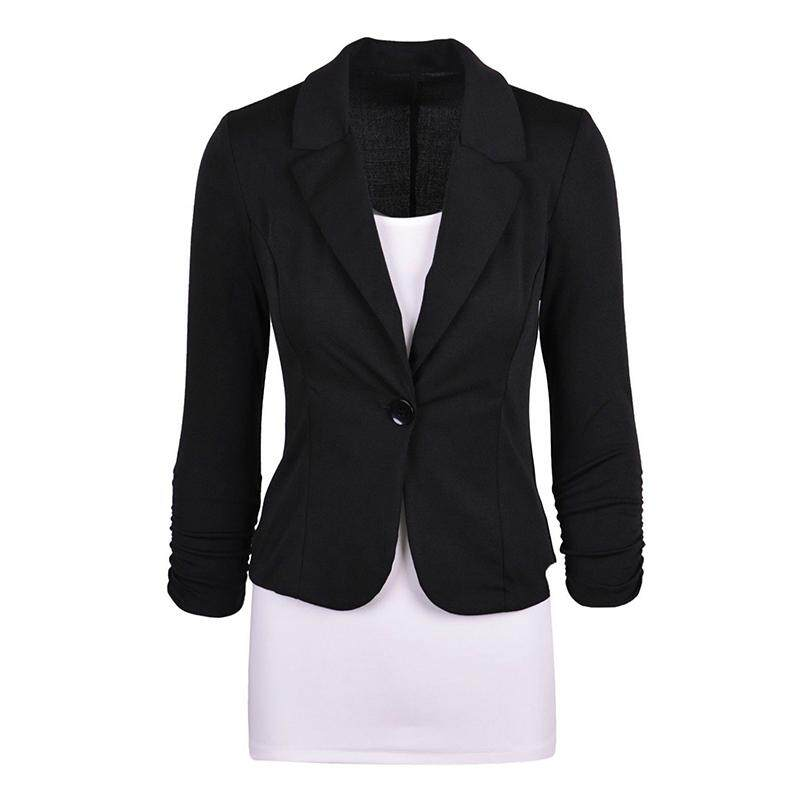 39f7cfb43fd83 Women s Casual Work Solid Color Knit Blazer Plus Size One button Jacket( black
