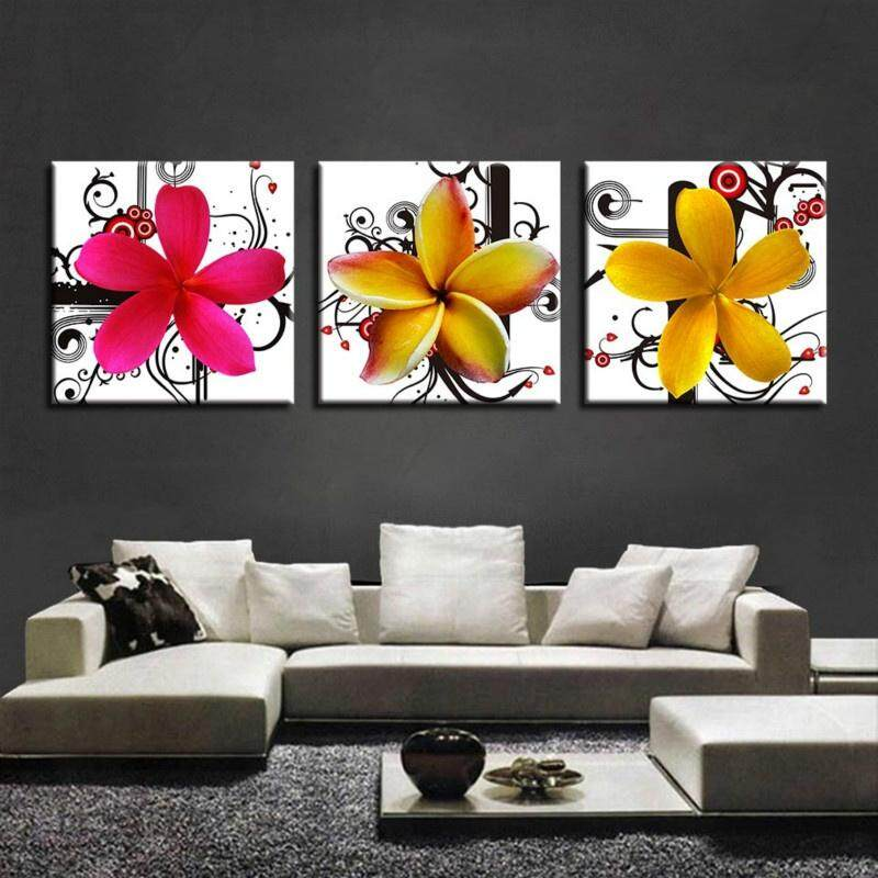 Lukisan Kanvas Dinding Seni Dekorasi Rumah untuk Ruang Keluarga 3 Pieces Plumeria Rubra Gambar HD Cetakan