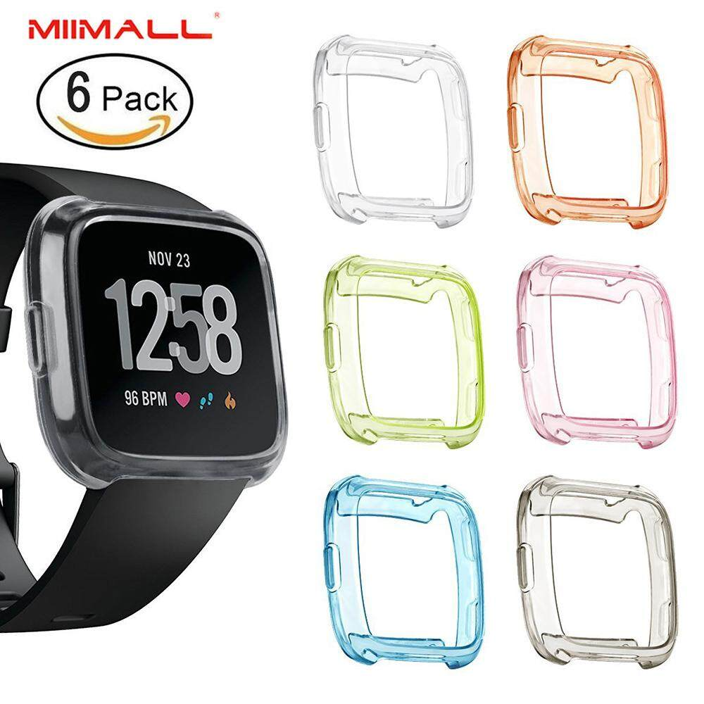 [6 PACK] Miimall Fitbit Versa Case, Soft TPU Protective Case Frame Shock Resistant