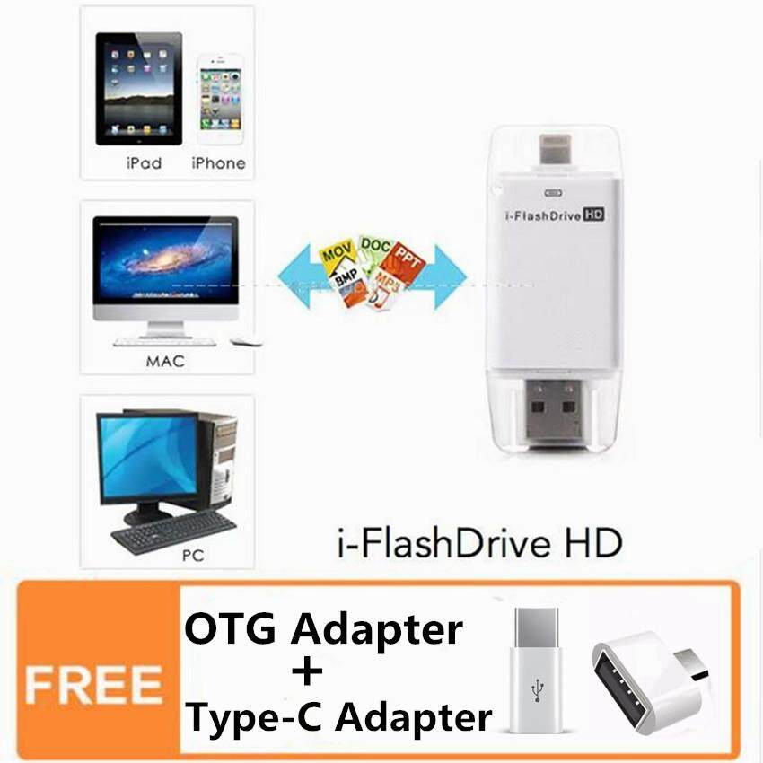 128GB i Flash drive OTG USB Flash drive for iPhone Android Type-C External Storage Memory U Disk (White)