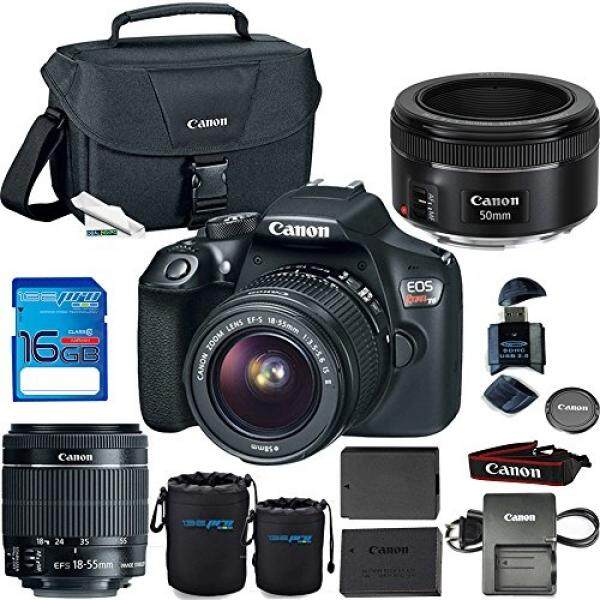 Canon EOS Rebel T6 DSLR Kamera dengan EF-S 18-55 Mm F/3.5-5.6 IS II Lensa + canon EF 50 Mm F/1.8 Lensa STM-Deal Expo Penting Aksesoris Bundle