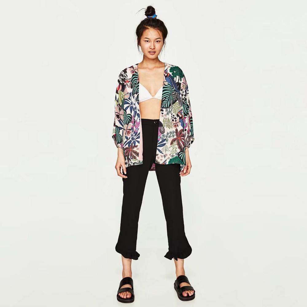 072af929 FEITONG Women Floral Chiffon Kimono Oversized With Fringe Shawls Wraps