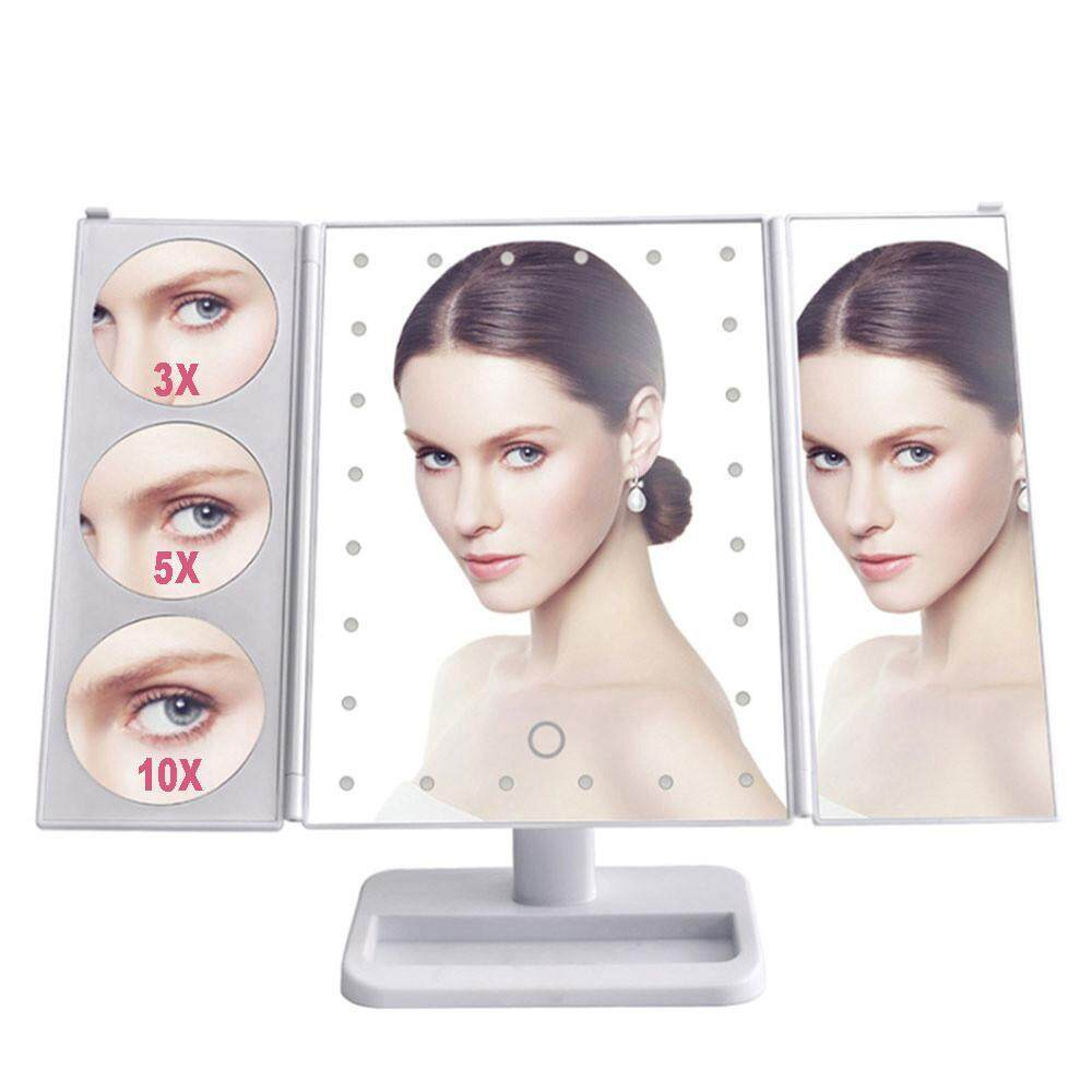 niceEshop Foldable Lighted Makeup Mirror 24 Led Lights Touch Screen Vanity Mirror With Lights And Magnification - intl Philippines