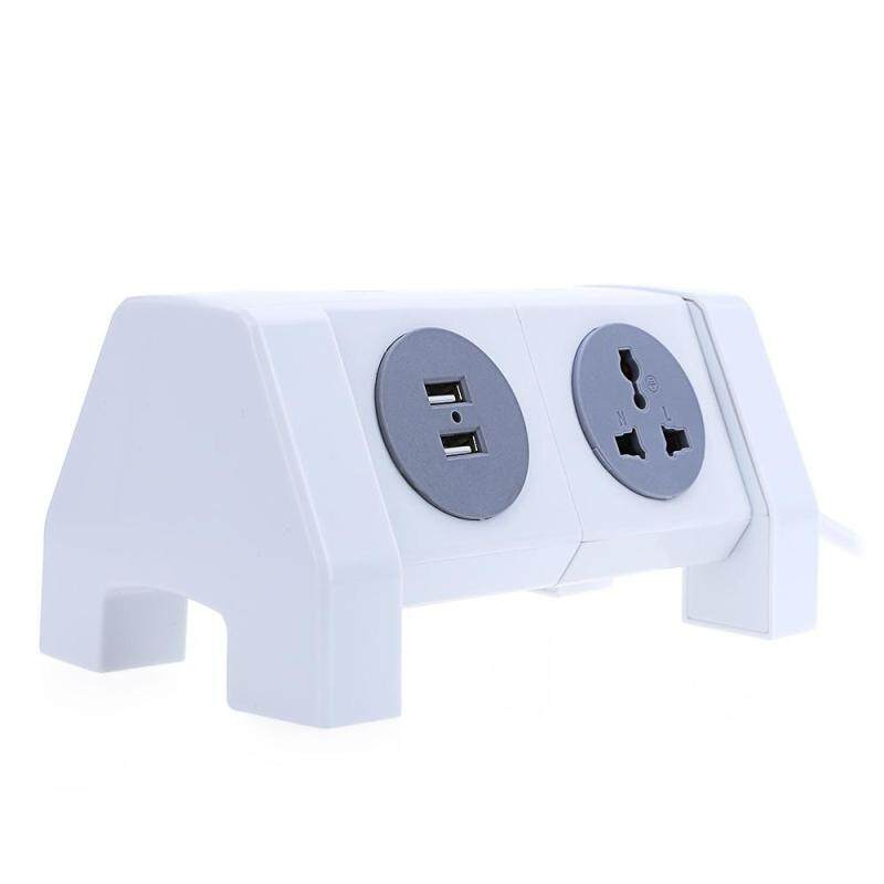EU PLUG Alardor Colorful ALD - 2W4K - L 180 Degree Rotating Socket Intelligent USB Surge Protection Power Strip Dual USB Ports - intl