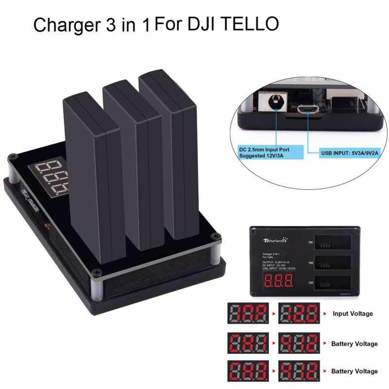 Qooiu Original Battery Charger for DJI Tello Drone, 3in1 Multi Battery Charger Hub RC Intelligent Quick Charging(US plug) - intl