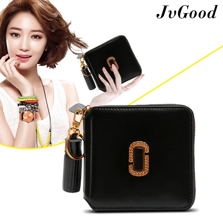 JvGood PU Leather Women Short Wallets Zipper Small Wallet Coin Pocket Credit Card Holder Handbag Female