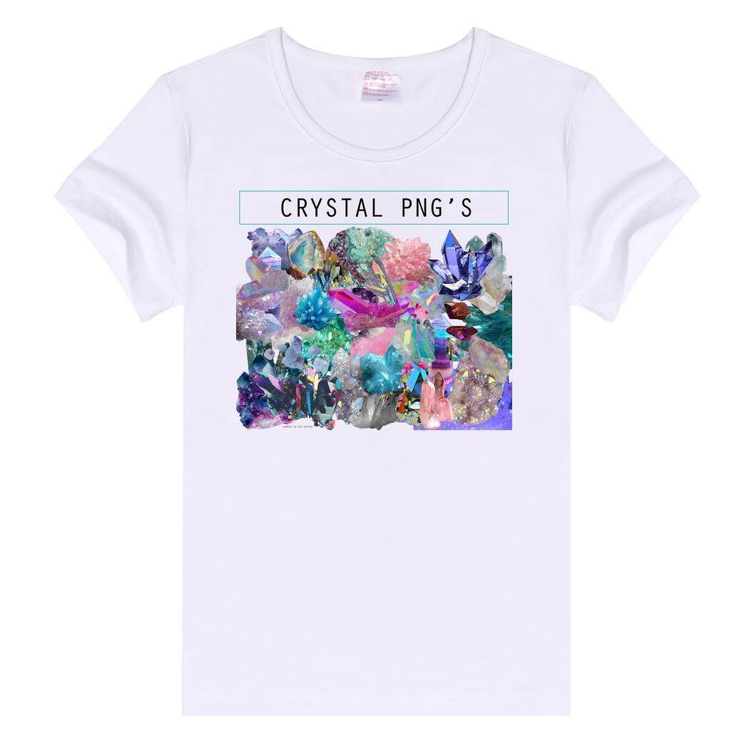 SuperCart Ladies Leisure Wear Basic Plain Crew Neck Slim Fit Soft Short Sleeve White Crystal png pattern T-shirt - intl