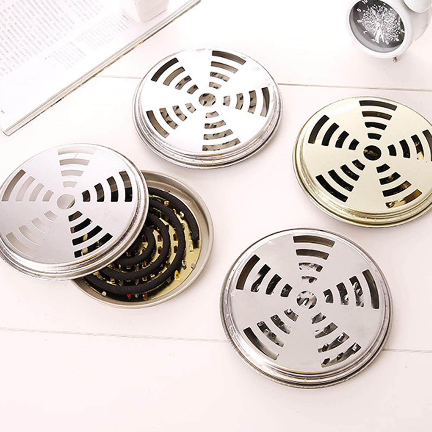 5 Pcs Metal Mosquito Coil Incense Fire Box Tray Holder With Supporting Nail Teeth And Hollow Lid - Intl By Stoneky.