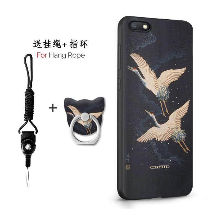 Untuk Xiaomi Redmi 6A/5.45 Inch Case 3D Relief Silikon TPU Berbahan Lembut Anti-Knock Shockproof Kembali Kulit Penutup (1X tali Gantung) + (1 X Sama Bracket)