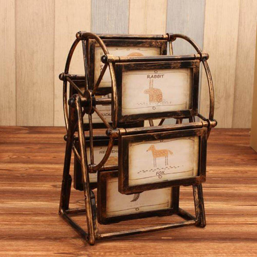 KEJARYFerris wheel photo frame 5-inch photo wedding photo album creative childrens table set decoration, bronze