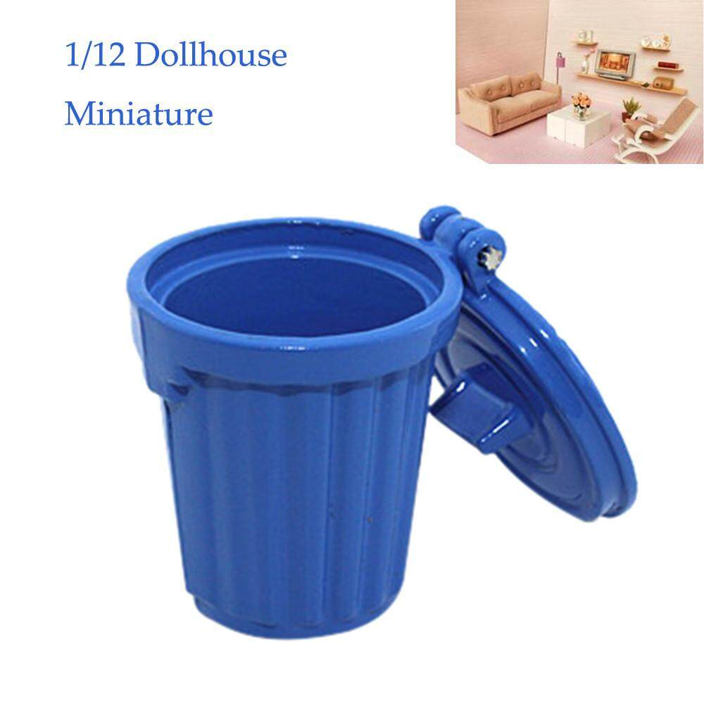 1/12 Miniature Dollhouse Accessories Mini Garbage Trash Can Decor Gift Toy By Matatatshop.