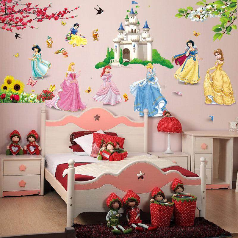Carton Princess Castle Wall Stickers For Kids Baby Nursery Wallpaper  Decorative Decor Girls Gift Poster Home