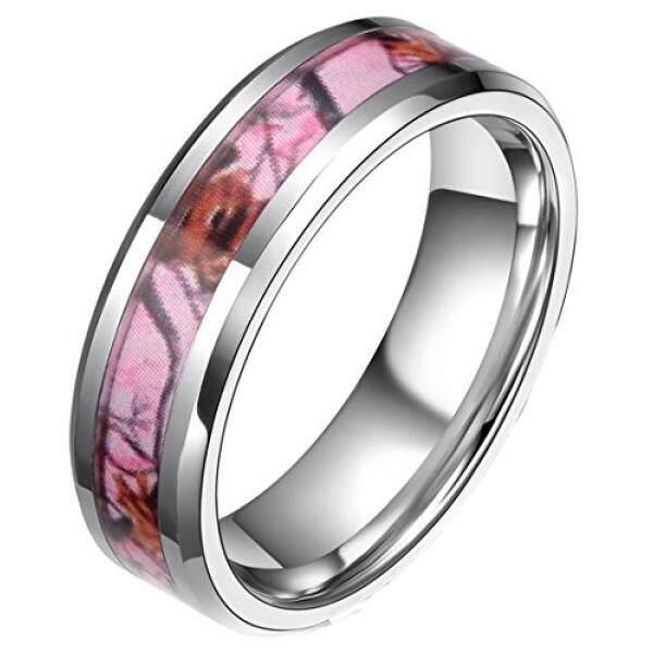 Frank S Burton-upon-trent, 6 Mm Berwarna Merah Muda Kamuflase Cincin Tungsten untuk Wanita Tanduk Rusa Berburu Kamuflase Cincin Pernikahan Ukuran 9.5-Intl