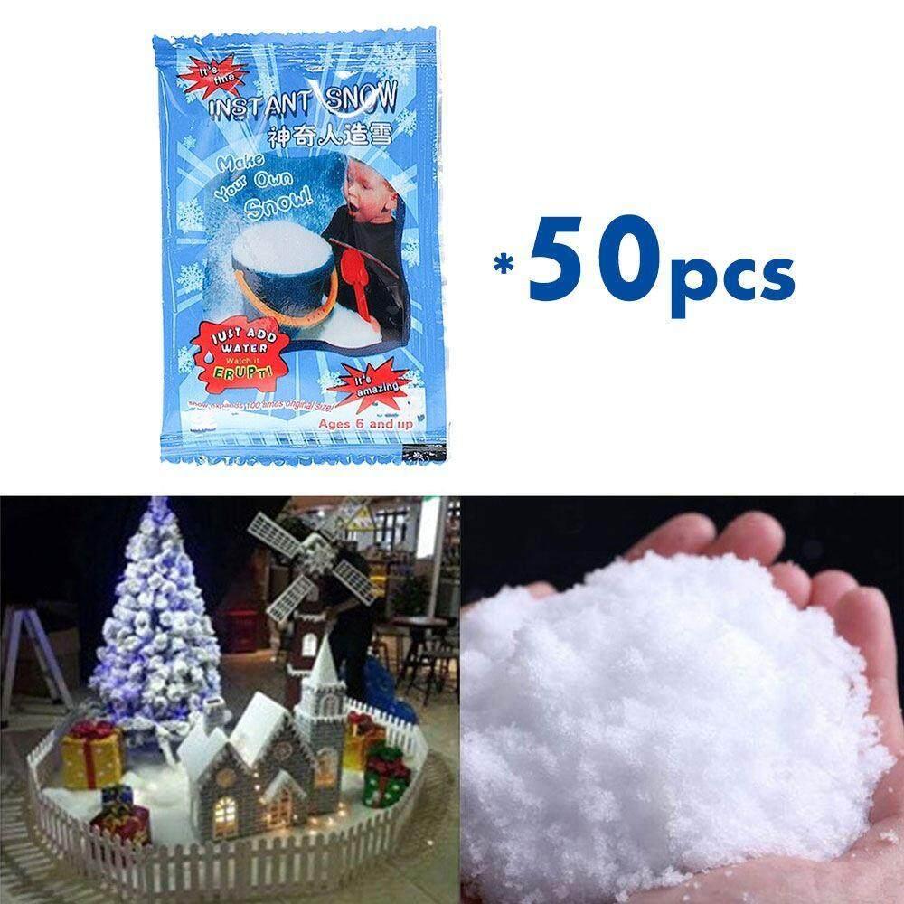 Vigo 50PCS/SET Magic Snow Instant Fake Fluffy Snow Powder Reusable DIY Artificial Slime Simulation Snow Super Absorbant Christmas Wedding Festival Market Fairy House Decor Children Toys