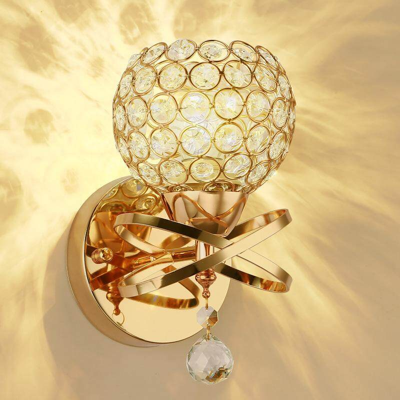 European crystal lighting wall lamp without bulb bedroom bedside lamp guest room