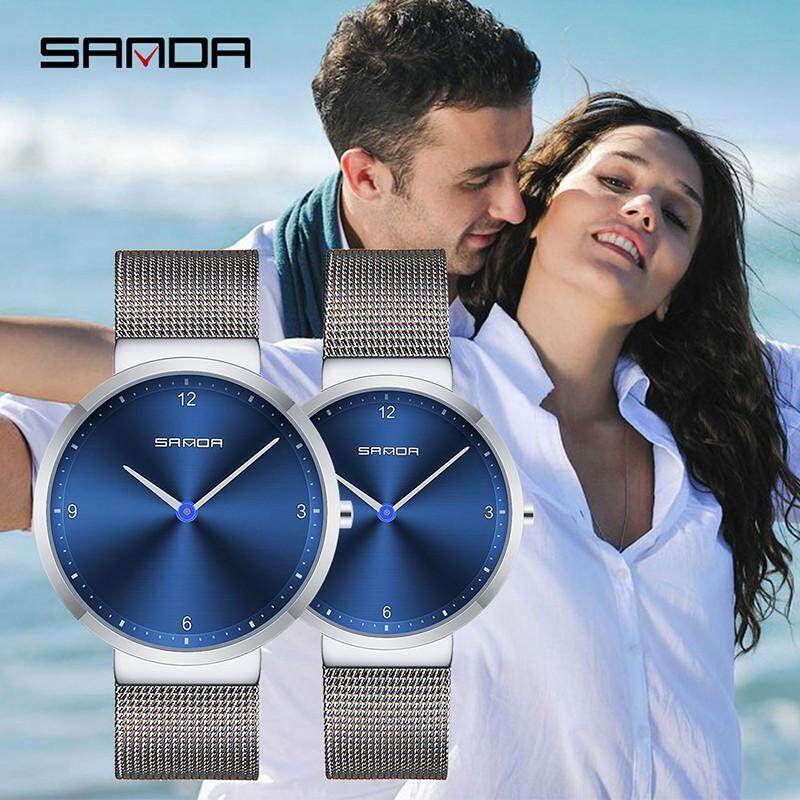 SANDA Fashion Quartz Watches Men and Women Couple Watches Stainless Steel  Wrist Watches Lover Wristwatch