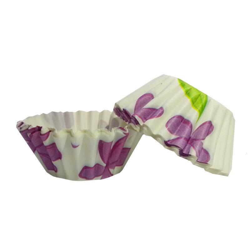 100pcs D60mm Purple Flower Colourful Paper Baking Cake Cup Liner