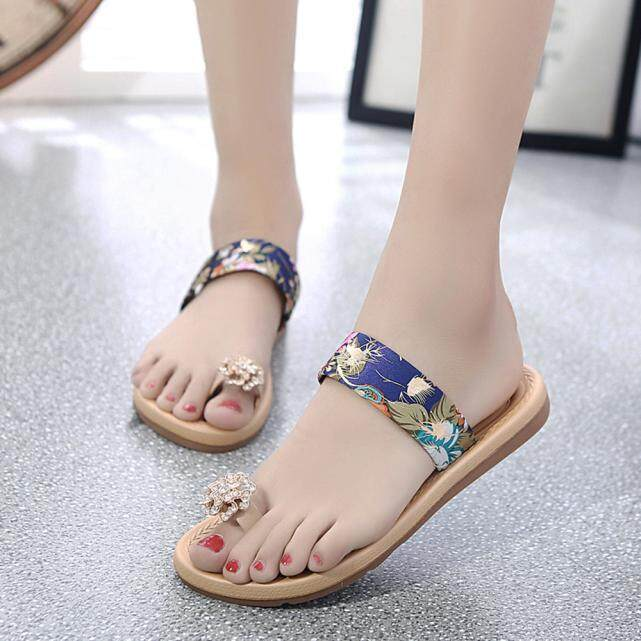 64396afad5f481 chinastorenie Women Fashion Summer Flat Flip Flops Sandals Loafers Bohemia  Shoes