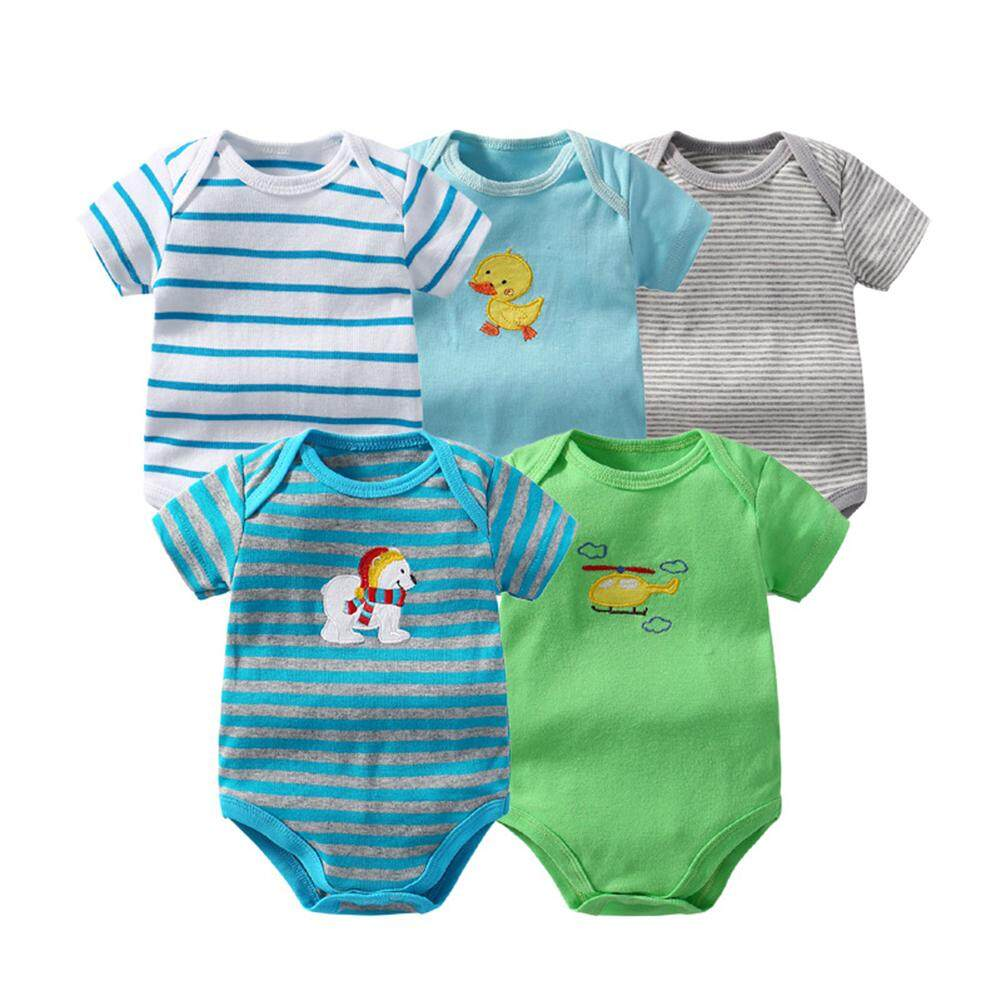 0c5bf8139797d FC 5Pcs/Pack Baby Romper Overall Cute Short Sleeve Bodysuit Climb Clothes-Color  Random
