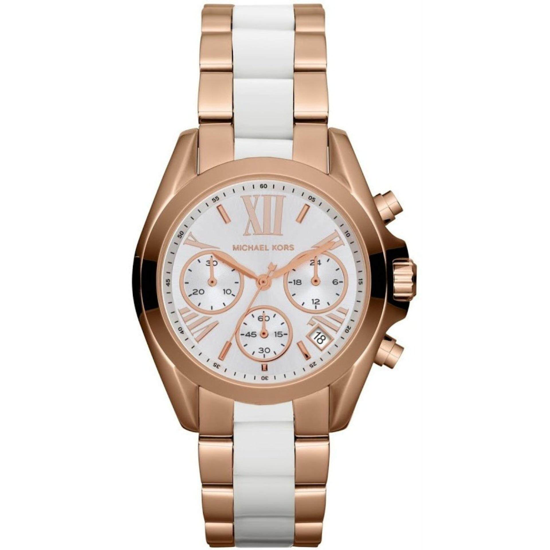98c0224fcba8 Michael Kors Women s Bradshaw Chrono White Dial Two Tone Watch MK5907