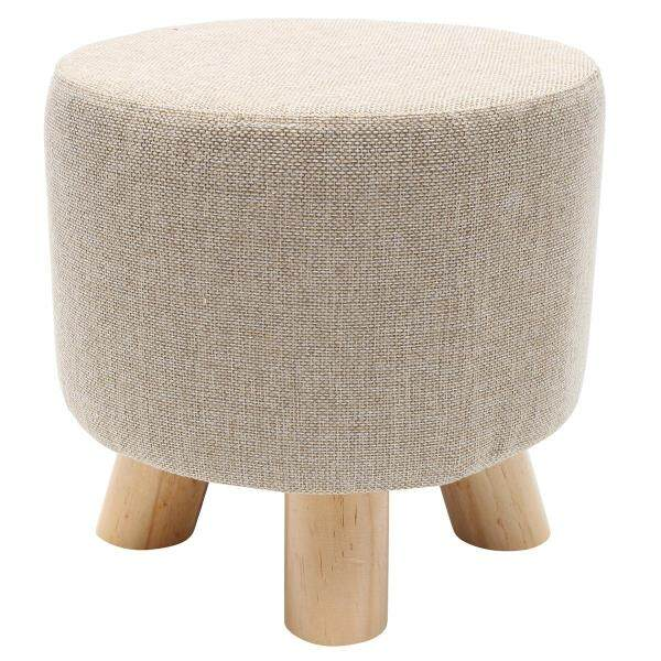 Round Pine Wooden Footstool Ottoman Pouffe Stool Fabric Foot Rest Padded Seat