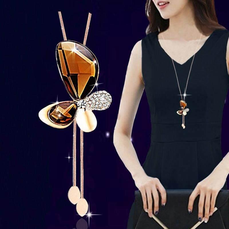 【M25 kupu-kupu sampanye emas】Perhiasan liontin korea perempuan liar dekoratif sweater rantai