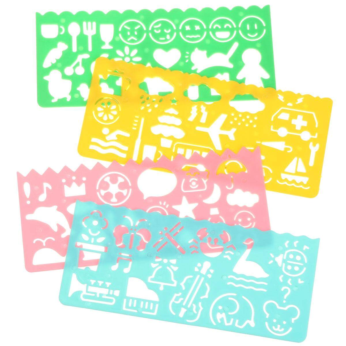4x Assorted Color Plastic Art Graphics Drawing Template Ruler For Student Kid Ep By Glimmer.