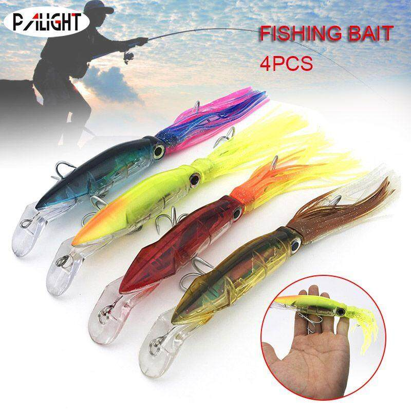 PAlight 4pcs 14cm Fishing Lures Bionic Baits Artificial Hard Squid Skirts  Octopus Trolling Baits with Hooks