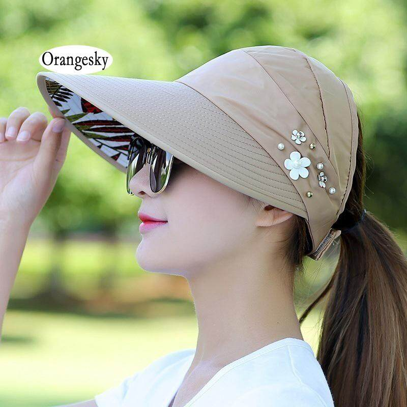 Orangesky Wanita Matahari Pantai Topi Uv Perlindungan Pelindung Sinar Uv Visor Topi Lipat Untuk Outdoor By Orangesky.