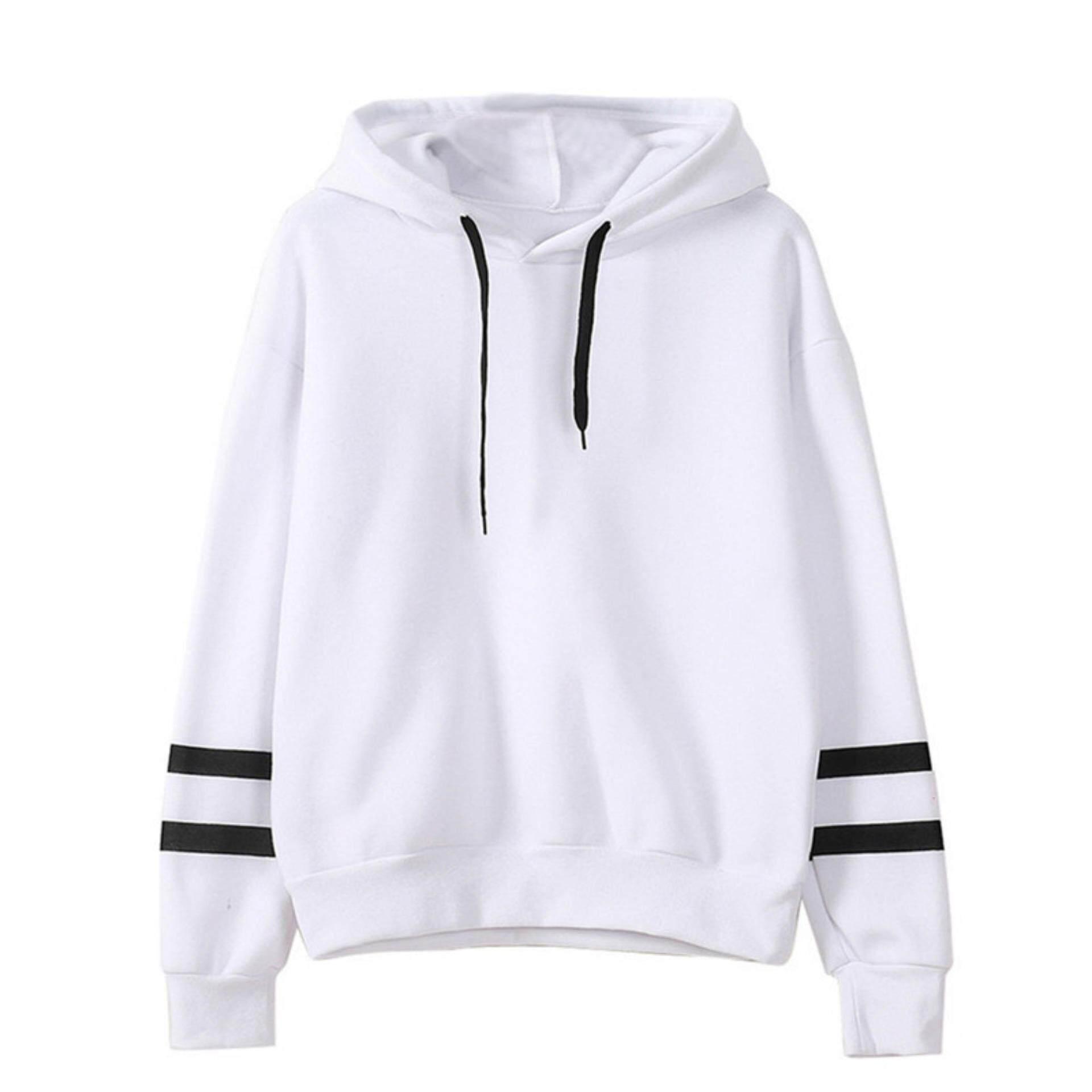 Lengan Panjang Wanita Hoodie Sweatshirt Jumper Bertudung Sweter Tanpa Kancing Terbaik Blus Coats Putih-Internasional