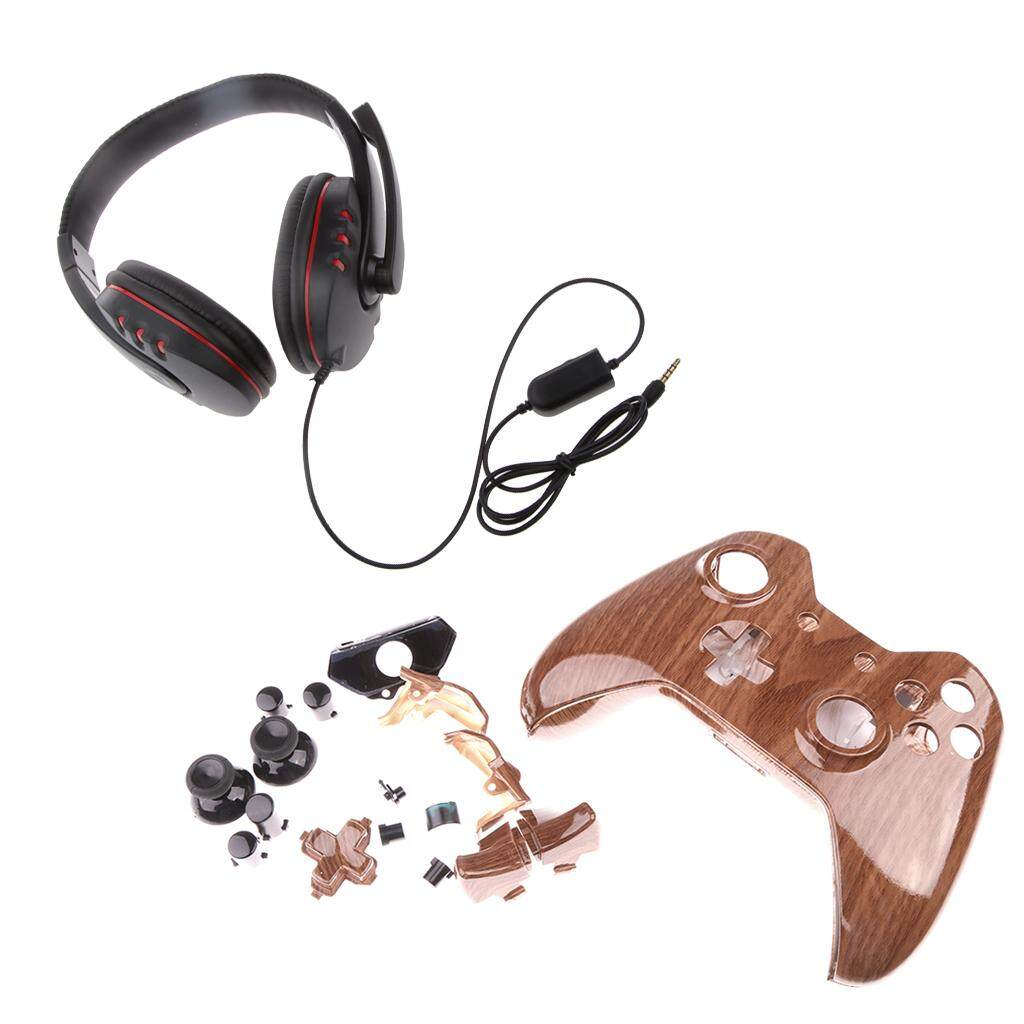Miracle Shining Hydro Dipped Woodgrain Controller Shell Mod Kit +Wird Headphone for Xbox One
