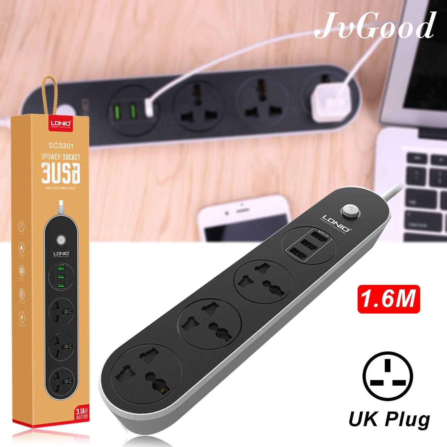 Jvgood Universal Power Strip Adapter Power Extension Surge Protector With 3 Sockets Outlets 3 Usb Extension Port 1.6m Cable For Multiple Devices Smart Phone Tablet Laptop Computer Uk Plug By Jvgood