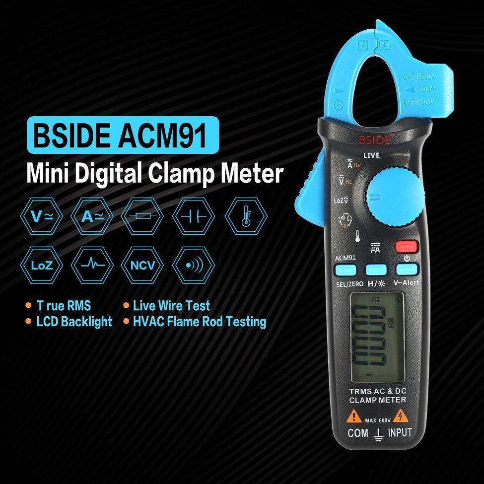 Fitur Bside Acm91 Mini Digital Clamp Meter Multimeter True Rms Ac Dc Lcd Voltmeter Ammeter Ohm Circuit Checker Volt Amp Tester