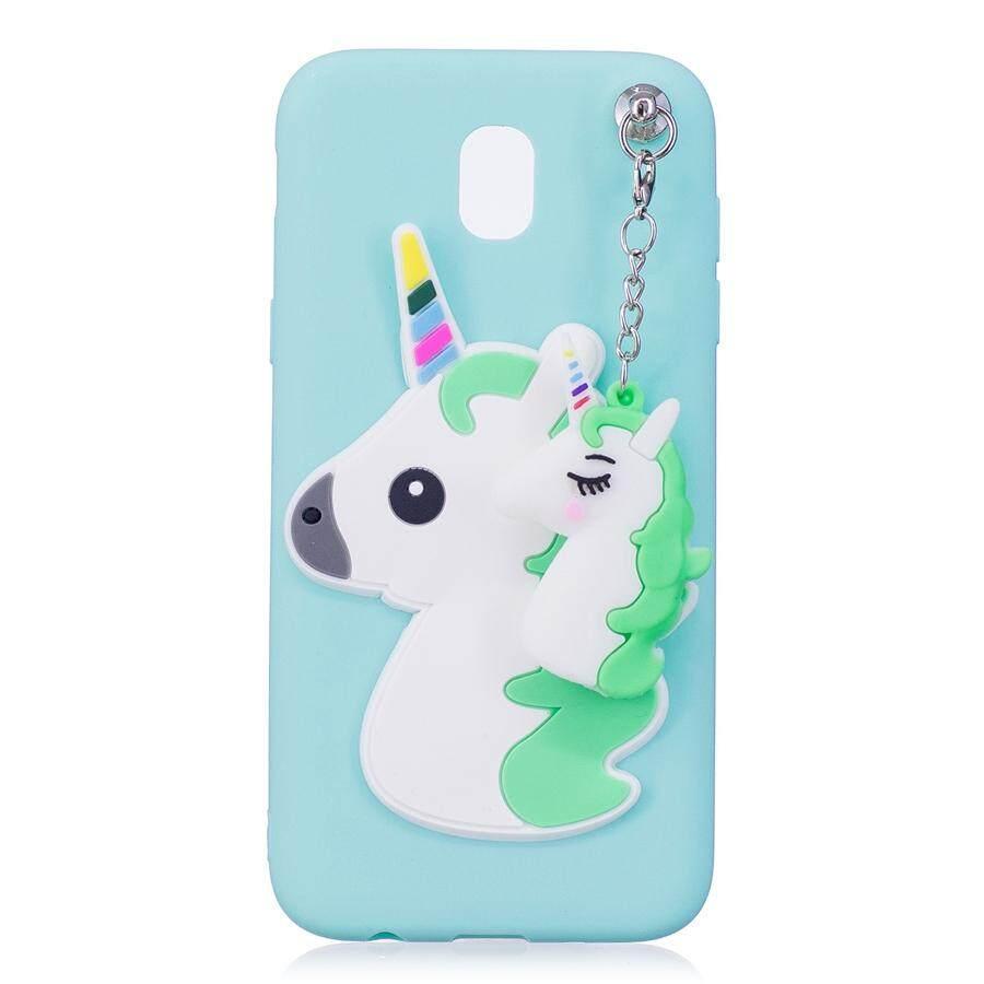 3D Unicorn Silikon Lembut Case untuk Samsung J7 Pro dengan Liontin Permen Warna-warni Lucu Emboss T