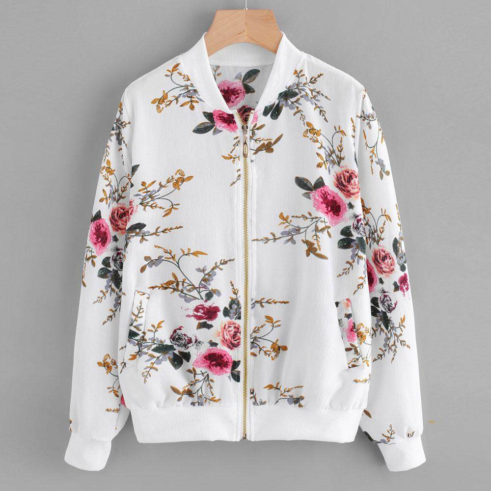 Womens Retro Floral Printing Zipper Up Bomber Jacket Casual Coat Outwear By Lucinashop.