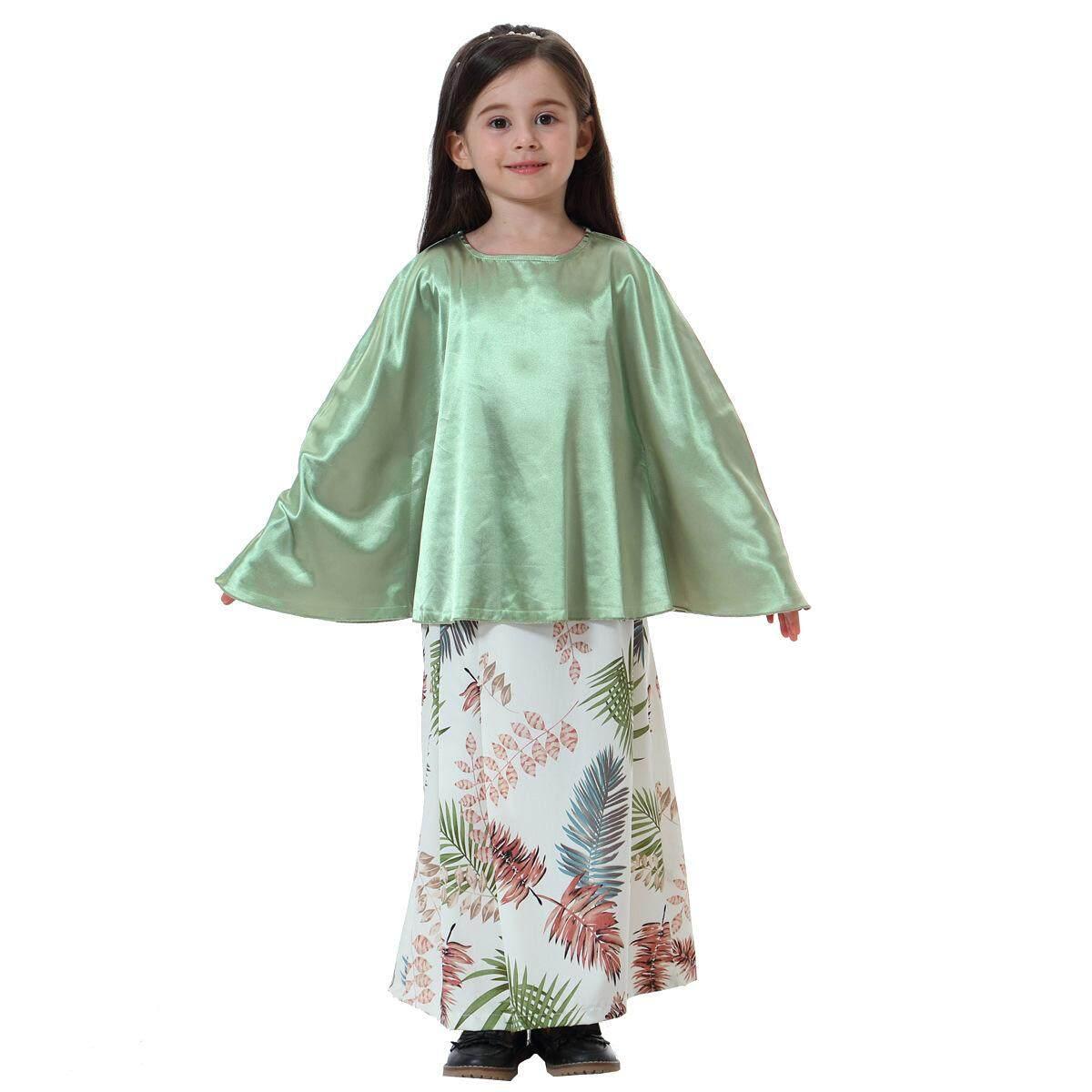 New hot selling Muslim girl long sleeve bat shirt skirt set