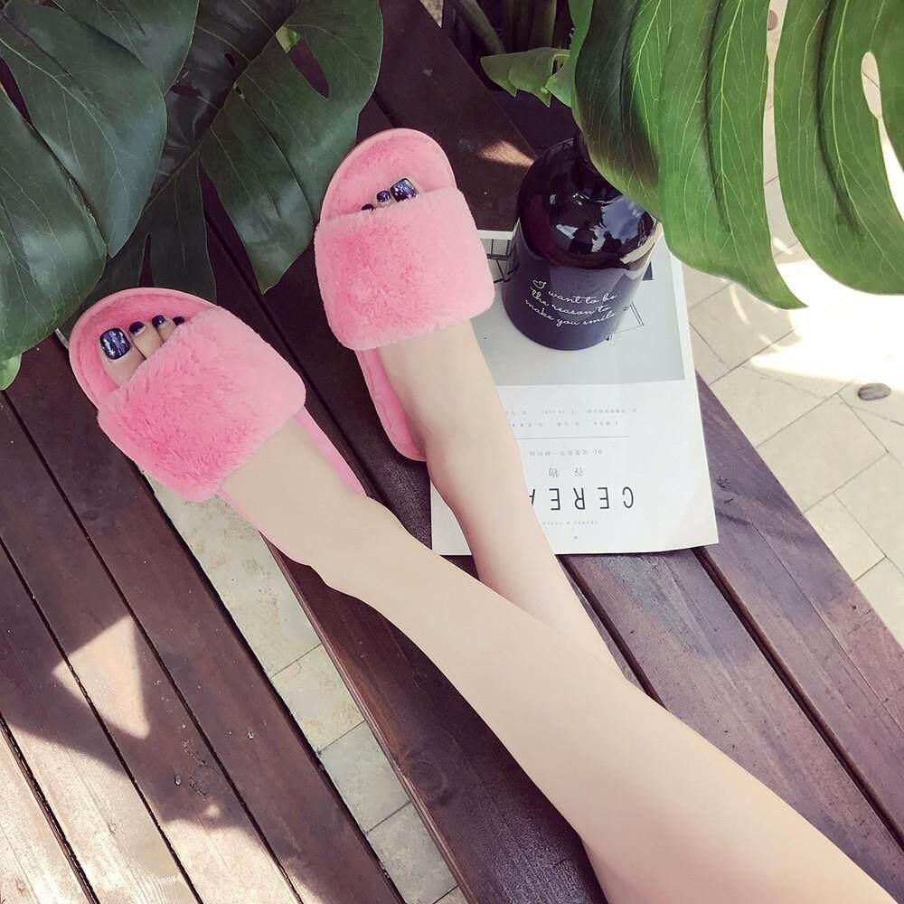 nagostore Womens Ladies Fluffy Faux Fur Flat Slipper Flip Flop Sandal Shoes