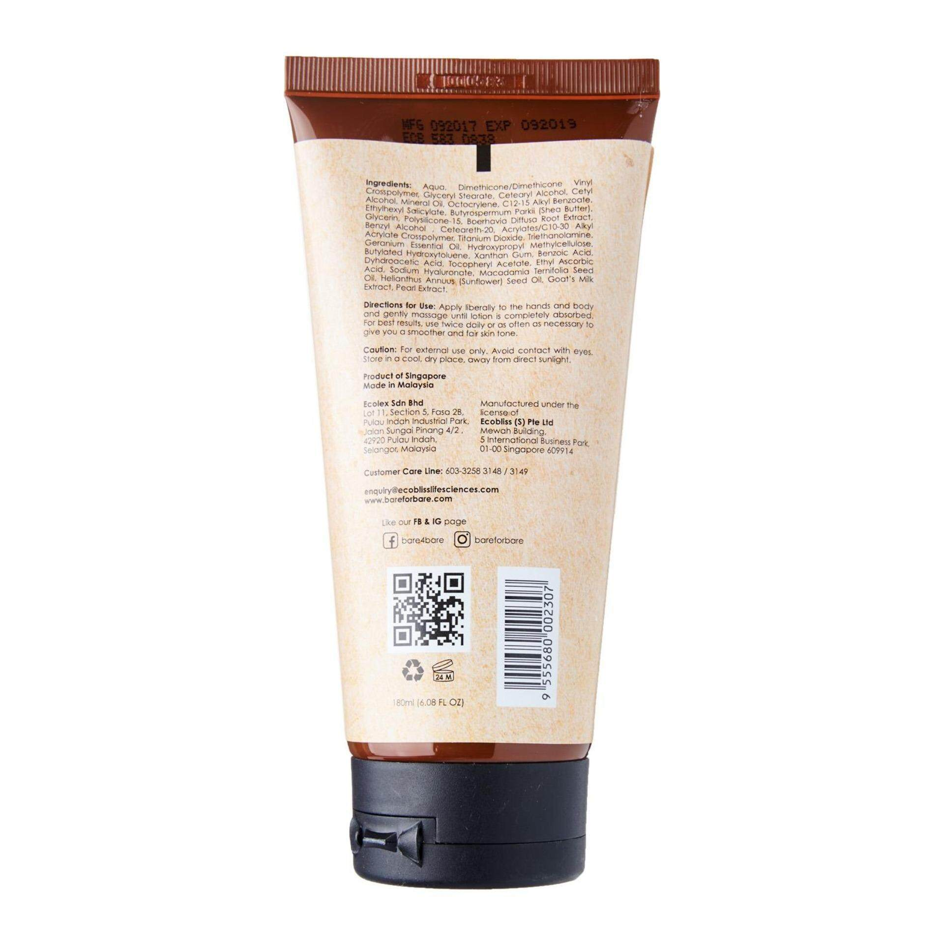 Bare for Bare Whitening & Nourishing Body Lotion SPF 15 180ml [Paraben Free, Silicone Free, 100% Botanical Extracts, Natural Body Care]