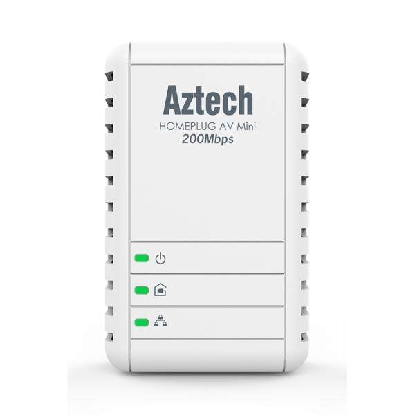 Aztech HL113E Homeplug AV 200Mbps Mini Powerline Ethernet Adapter (UK Wall Plug)